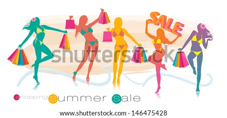 Summer shopping sale girl silhouettes vector illustration - stock vector