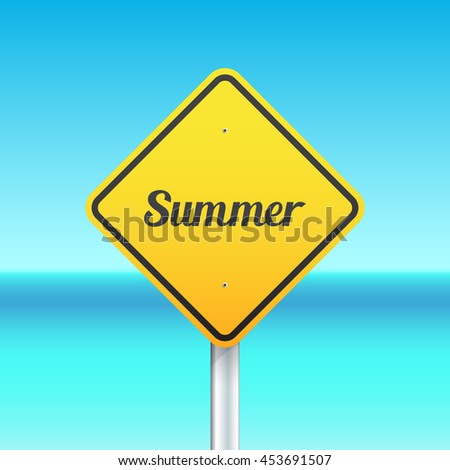 Summer sign on the sea background