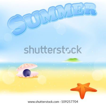 summer sign with beach blur background with green island, sea star and black pearl shell