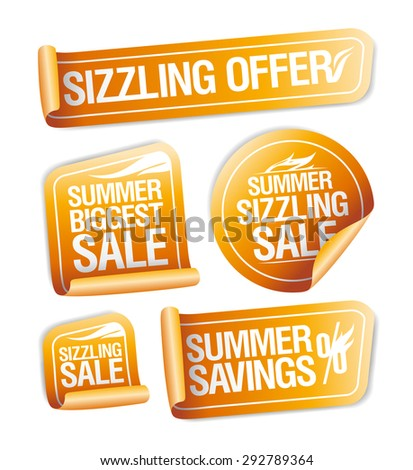 Summer sizzling offers, savings and sale stickers set - stock vector