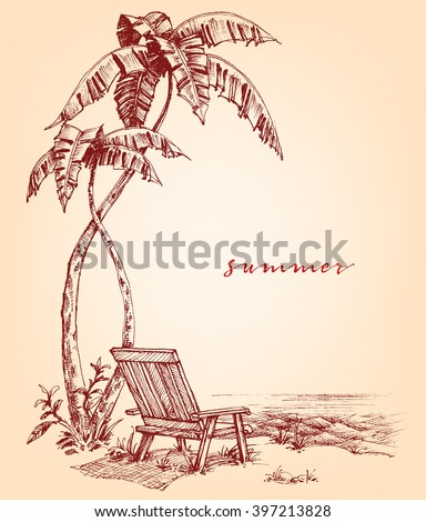 Summer sketch. Palm trees and sunbed on the beach - stock vector