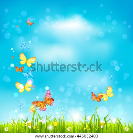 Summer sky background. Bright summer blank with flowers and butterflies. Nature template for design banner,ticket, leaflet, card, poster and so on. - stock vector