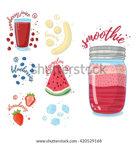 Summer smoothie with cranberry juice, banana, watermelon, strawberries and blueberries. Vegetarian cocktail in a glass jar. Recipe smoothie for healthy food with fruit and berry. Vector. - stock vector