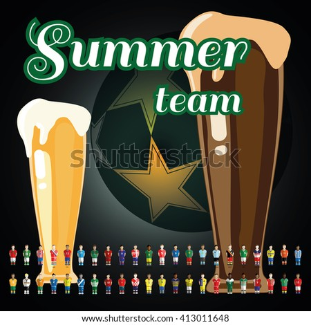 Summer soccer team banner illustration. Beer time, sports time. Bar or pub advertising campaign banner. Enjoy watching your favorite football team and have a good time with your friends. Vector image. - stock vector