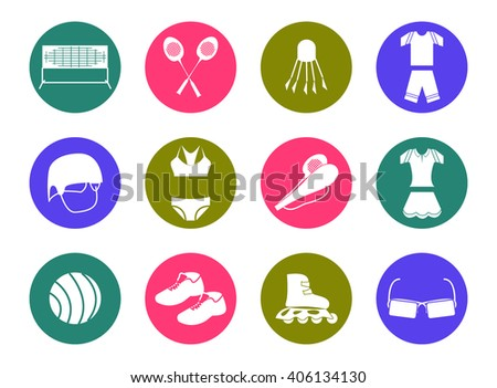Summer sport multicolored icons - stock vector