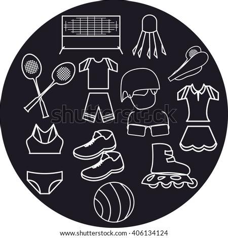 Summer sport set in gray circle - stock vector
