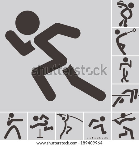 Summer sports icons -  set of athletics icons - stock vector