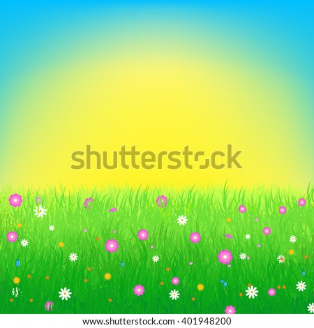 Summer, spring vector illustration featuring lush meadow with colorful flowers and sun on blue sky. Great for greeting cards, web banners, summer sale advertising backgrounds and promotional leaflets - stock vector