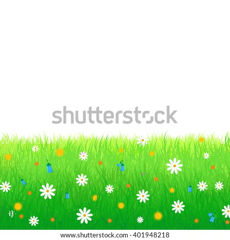 Summer, spring vector illustration featuring lush meadow with colorful flowers isolated on white background. Great for greeting cards, web banners, as advertising backgrounds and promotional leaflets - stock vector