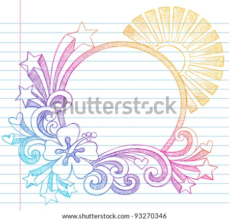 Summer Sun And Hibiscus Tropical Beach Border Frame Sketchy Notebook Doodles Vector Illustration On Lined Sketchbook