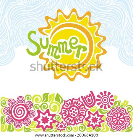 Summer sun beautiful flowers vector illustration - stock vector