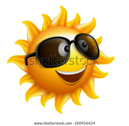 Summer Sun Face with sunglasses and Happy Smile. Vector Illustration - stock vector