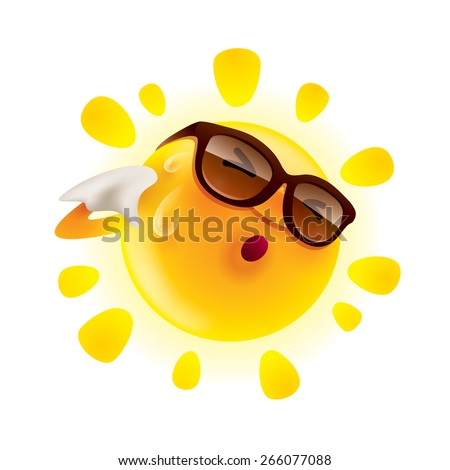 Summer sun feeling hot and wiping sweat - stock vector
