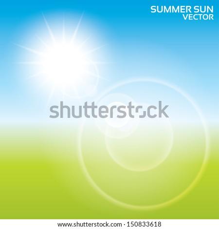 Summer sun lens flare background. Vector illustration. Landscape blur. Eps10. - stock vector