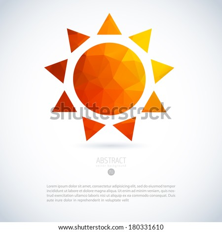 Summer sun of triangles background pattern. Label design template. - stock vector
