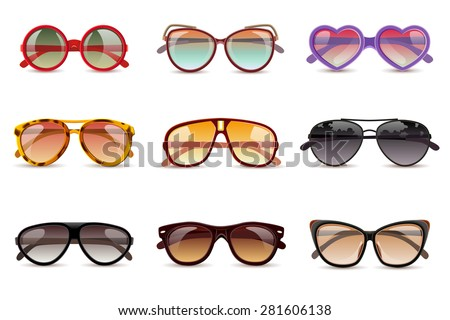 Summer sun protection sunglasses realistic icons set isolated vector illustration - stock vector