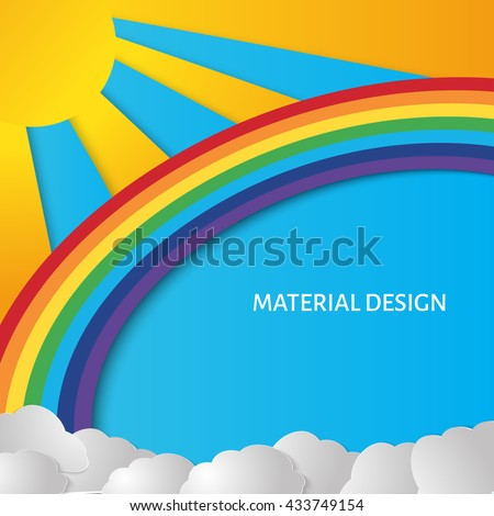 Summer sun with clouds and rainbow background. Paper cut style. - stock vector