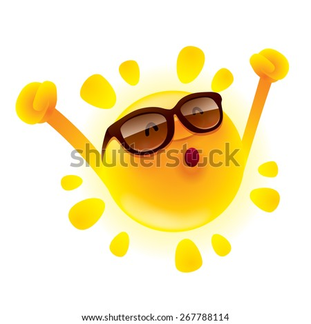 Summer sun with hands up - stock vector