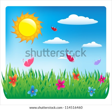 Summer sunny day. flowers and butterflies. vector illustration