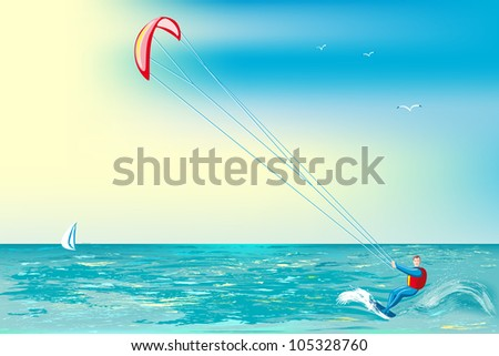 Summer sunny day. Man involved in sports on a surfboard with parachute. - stock vector