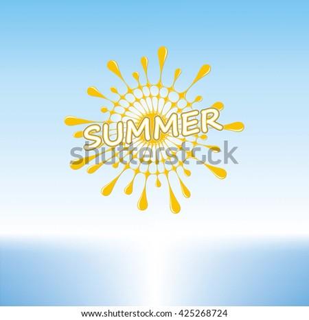Summer Sunny Day on a Tropical Beach, Stylized Sun, Vector Graphics - stock vector