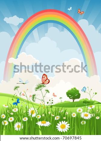 Summer sunny day with rainbow - stock vector