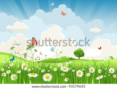 Summer sunny landscape - stock vector