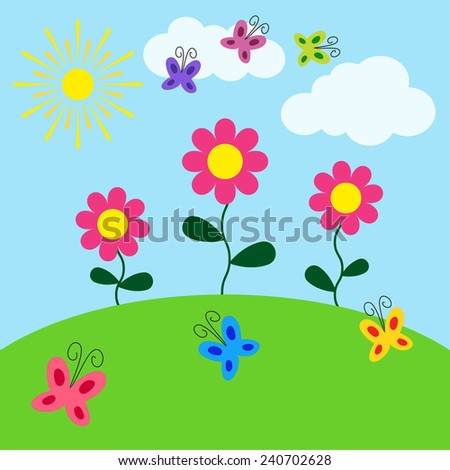 Summer sunny landscape. Beauty card with flowers, butterflies, sun and clouds. Vector illustration. - stock vector