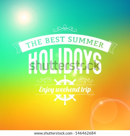 Summer Sunrise hawaii holidays enjoy weekend trip typography poster vector background - stock vector