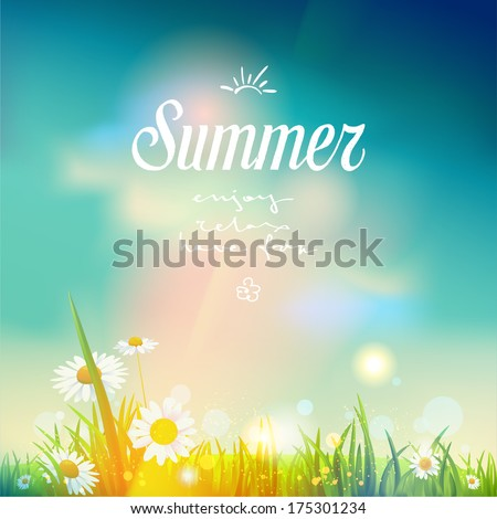 Summer sunrise or sunset background.  Vector design for print or web.         - stock vector