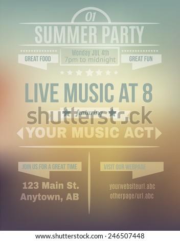 Summer sunset background flyer invitation template design - stock vector
