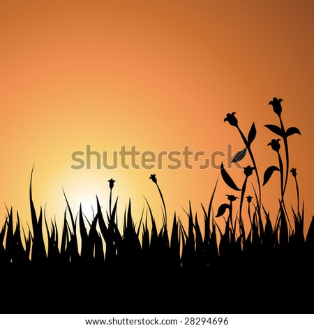 Summer Sunset Background with Grass and Flowers - Vector