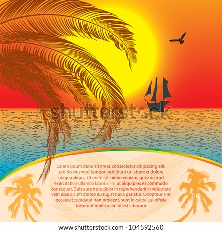 Summer sunset background with ship - stock vector