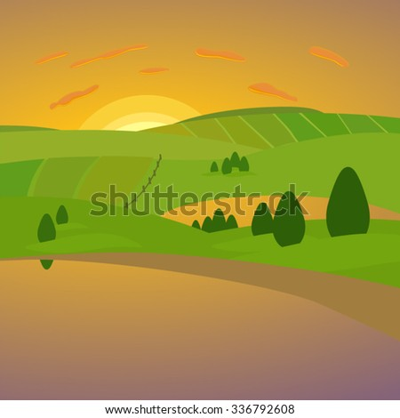 Summer sunset in the valley of lakes. Vector illustration for use in web design or other visual area. Landscape sketch for the background. - stock vector