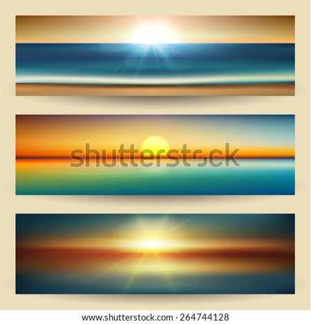 Summer sunset on the sea banners set - eps10 - stock vector