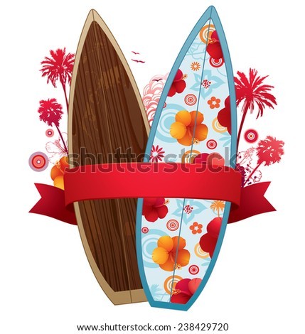 Summer surf design with couple of surfboards and ribbon for your copy. - stock vector