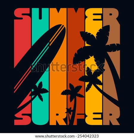 Summer Surfer T-shirt Typography Graphics, Vector Illustration