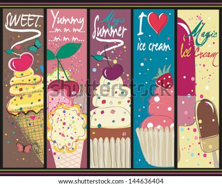 summer sweets vertical banners - stock vector