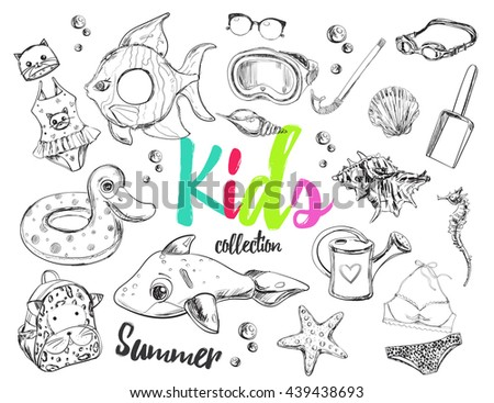 Summer swim collection. Vector illustrations. Isolated objects