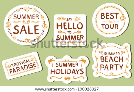 Summer tags with hand drawn lettering