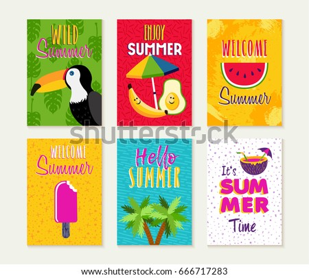 Summer template set, summertime vacation quotes with fun season illustrations. Ideal for greeting card, party invitation, flyer or poster. EPS10 vector.