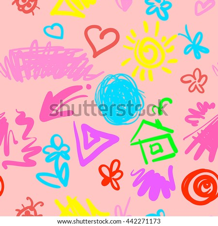 summer tender funny seamless pattern with drawn spots stripes butterflies and flowers pink version  vector illustration good for your textile design