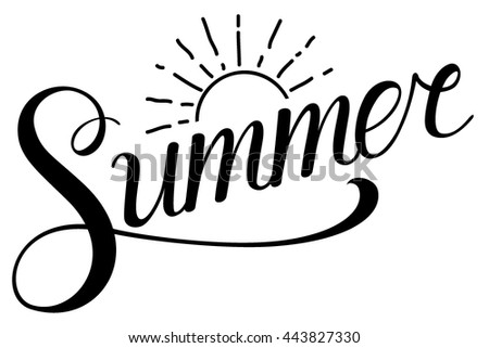Summer text with sun. Lettering summer and sun - stock vector
