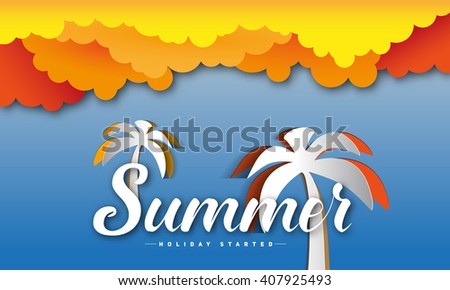 Summer theme, inscription word, papercut style with clouds and palms. Vector background illustration