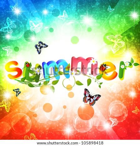 Summer theme with floral over bright multicolored background - stock vector