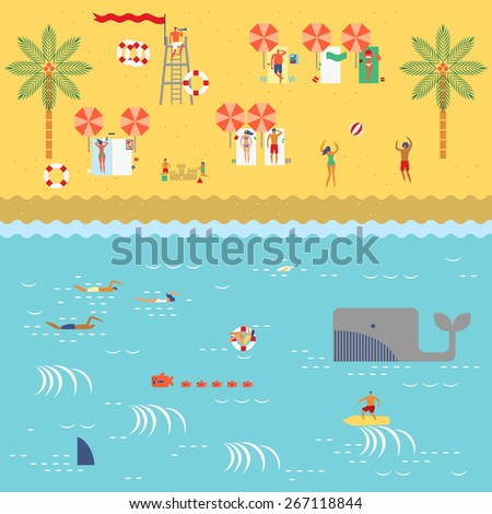 Summer time at the beach with people swimming,surfing,reading,sunbathing,playing sand,beach ball  and lifeguard in retro vintage map style - stock vector