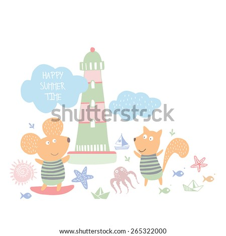 Summer time background.Summer holidays. - stock vector