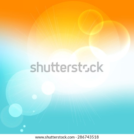 Summer time background with text - illustration.  - stock vector