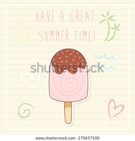 summer time greeting cards template with ice cream and some doodle. can be used like greeting cards or party invitations. - stock vector