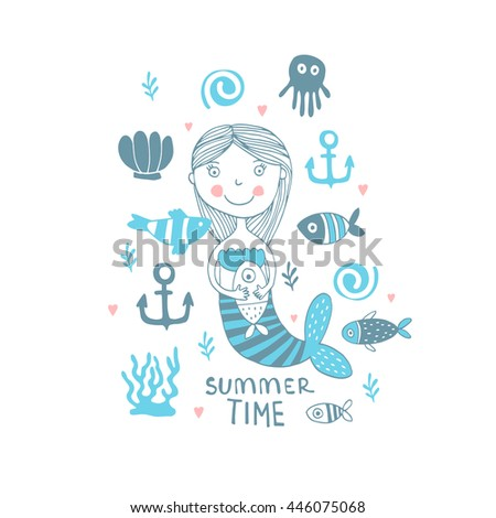 Summer Time  illustration with cute siren - stock vector